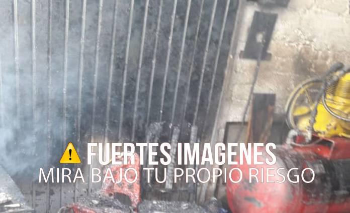 En la vulcanizadora se pudieron ver más de45 casquillos percudidos y restos de granadas de fragmentación.
