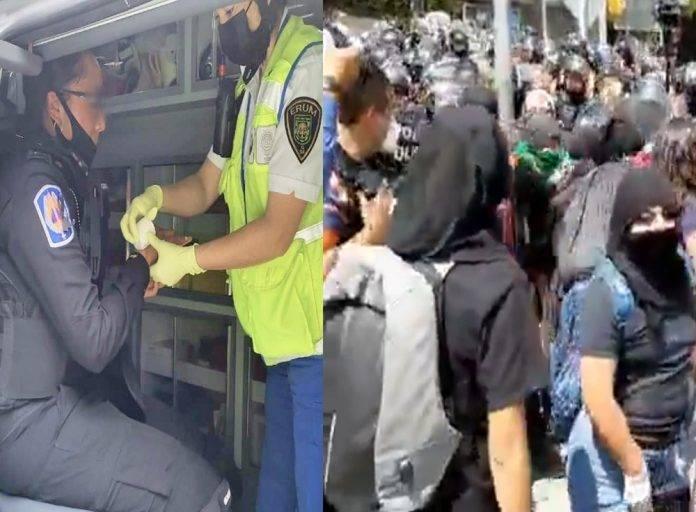 Afortunadamente la mujer policía fue atendida y hasta el momento ninguna uniformada resultó lesionada de gravedad.