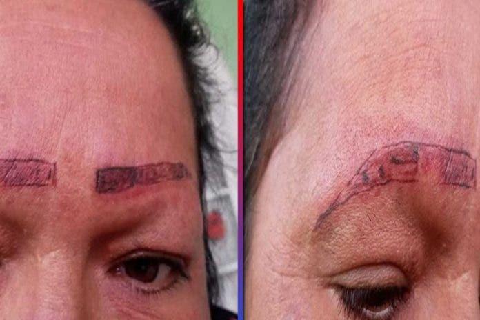 Denuncian a tatuadores en redes por detrozar la cejas de una mujer