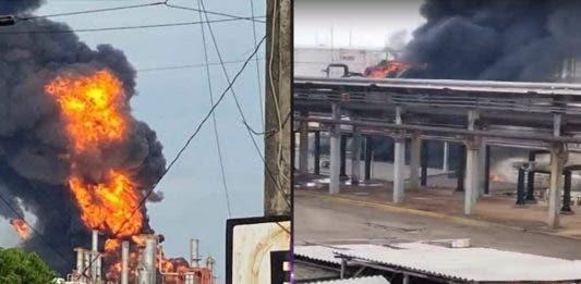 """Incendio en refinería """"Lázaro Cárdenas"""" en Minatitlán, Veracruz"""