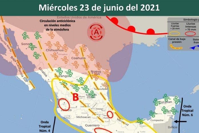 Clima 23 de junio del 2021
