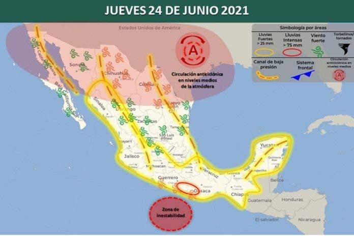 Clima 24 de junio del 2021
