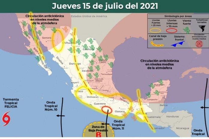Clima 15 de julio del 2021