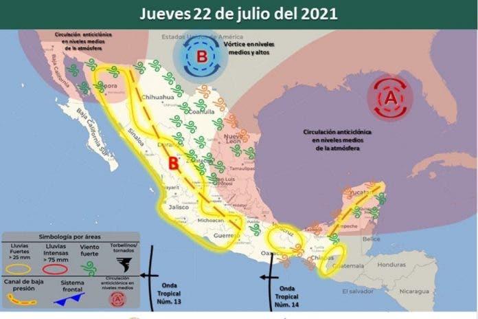 Clima 22 de julio del 2021