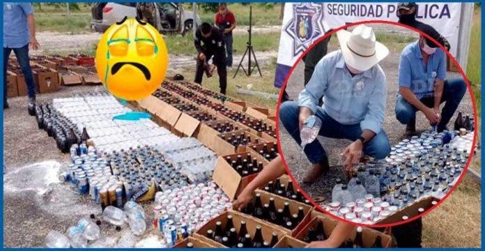 Autoridades tiran casi 1,500 bebidas de alcohol decomisado
